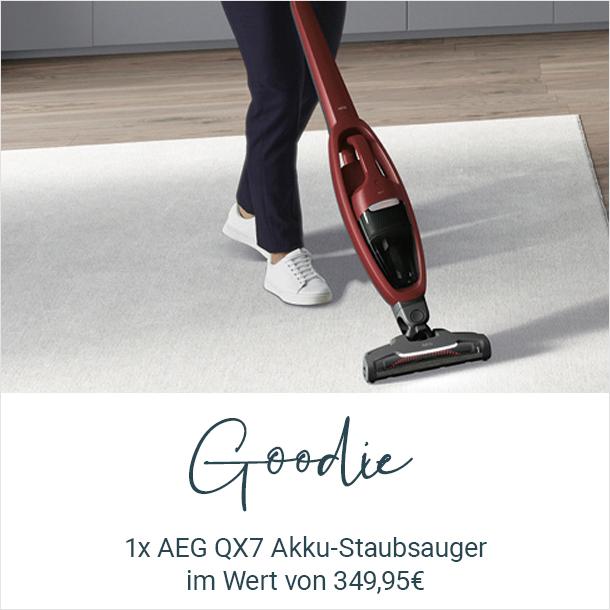 Goodie: 1 AEG QX7 Akku-Staubsauger im Wert von 349,95€