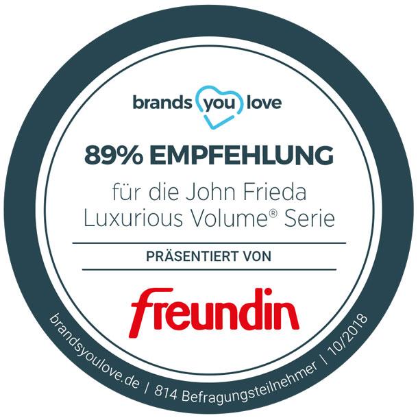 Das brands you love Empfehlungssiegel für John Frieda Luxurious Volume®