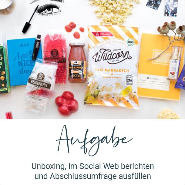 Aufgabe: Unboxing, im Social Web berichten und Abschlussumfrage ausfüllen