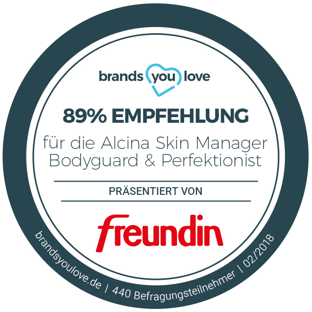 brands you love Siegel für die Alcina Skin Manager Perfektionist und Bodyguard