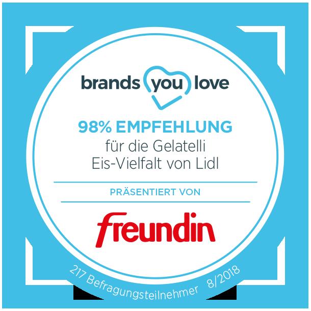 brands you love Empfehlungssiegel für Lidl Gelatelli Eis