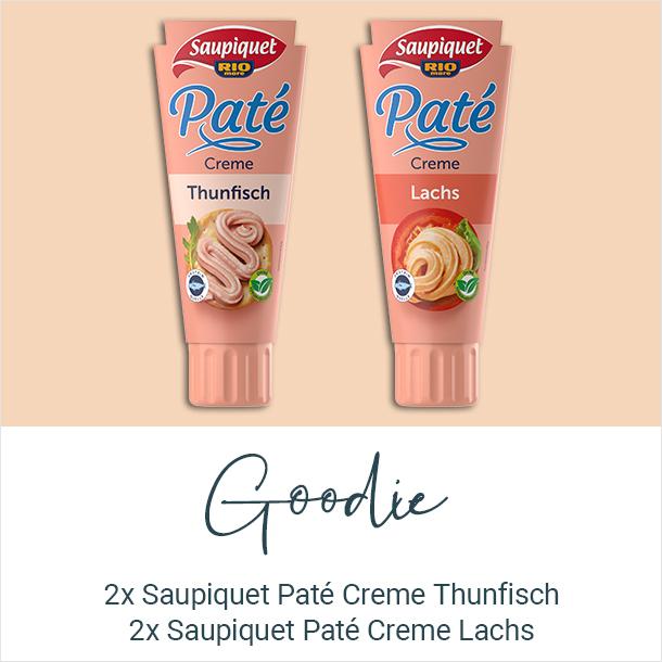 Goodie: 1x Saupiquet Paté Creme Thunfisch, 1x Saupiquet Paté Creme Lachs
