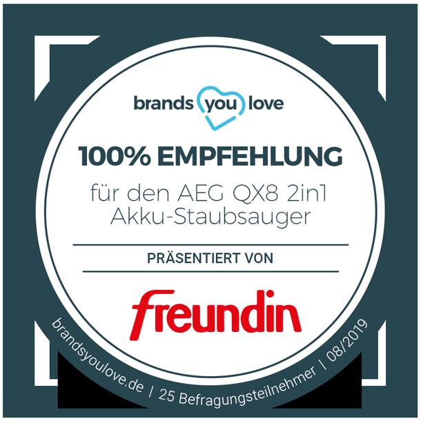 brands you love-Siegel für den aEG Qx8 2in1 Akku-Staubsauger
