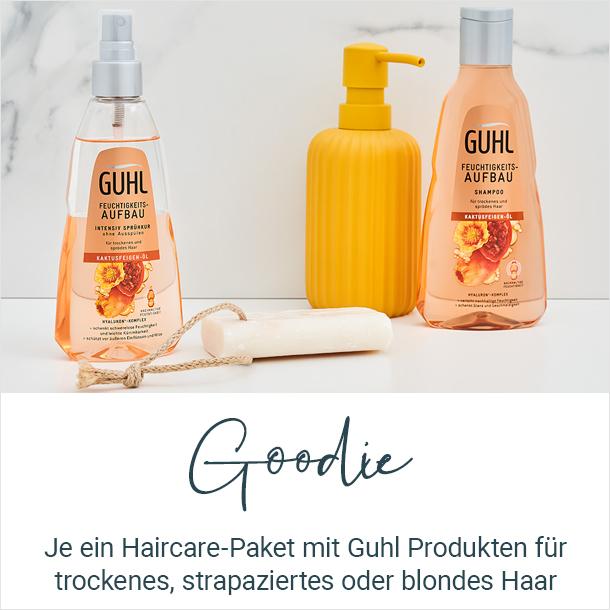 Je ein Haircare-Paket mit Guhl Produkten für trockenes, strapaziertes oder blondiertes Haar