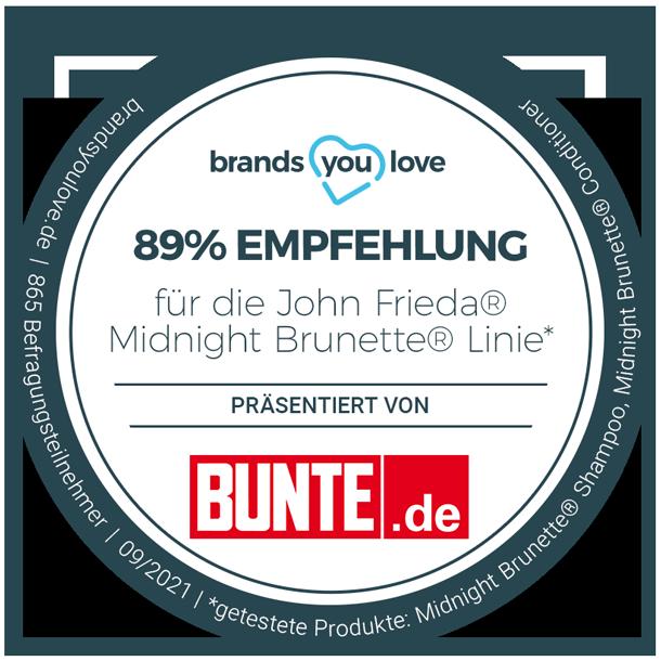 brands you love Siegel: 89% Empfehlung für die John Frieda® Midnight Brunette® Linie