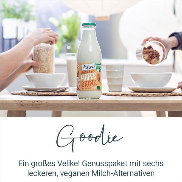 Goodie: Ein großes Velike!-Genusspaket mit sechs leckeren, veganen Milch-Alternativen