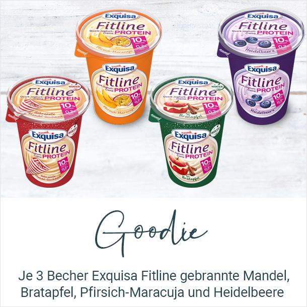 3 Becher Exquisa Fitline gebrannte Mandel, Bratapfel, Pfirsich-Maracuja und Heidelbeere kostenlos