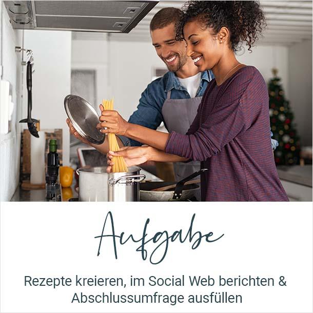 Aufgabe: Rezepte kreieren, im Social Web berichten und Abschlussumfrage ausfuellen