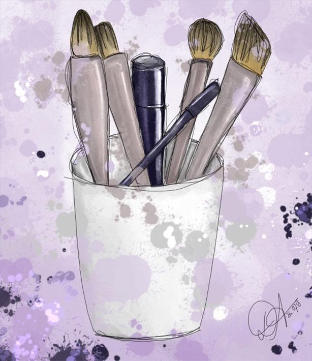 Zeichnung Schminkpinsel