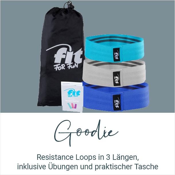 Goodie: Resistance Loops in 3 verschiedenen Längen, inklusive Übungen und praktischer Tasche