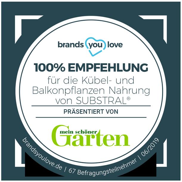 brands you love Empfehlungssiegel für SUBSTRAL® Kübel- und Balkonpflanzendünger