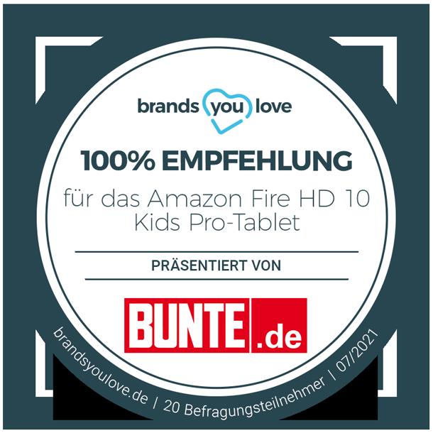 brands you love Siegel für Amazon Fire HD 10 Kids Pro-Tablet: 100% Empfehlung