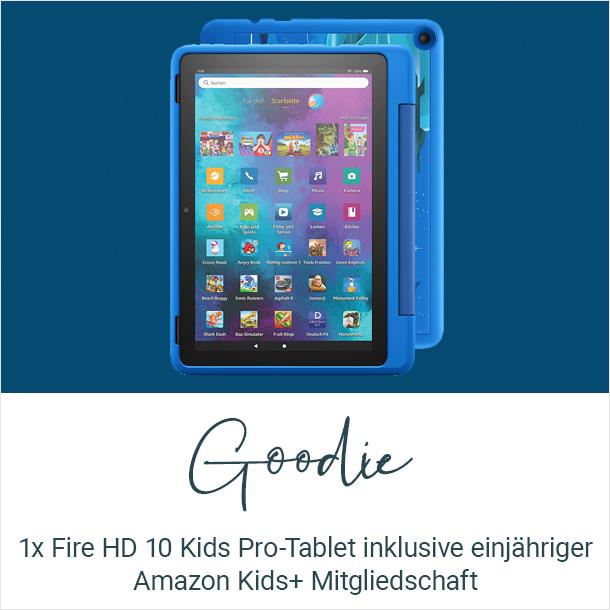 Goodie: 1x Fire HD 10 Kids Pro-Tablet inklusive einjähriger Amazon Kids+ Mitgliedschaft