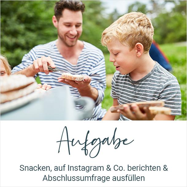 Aufgabe: Snacken, Auf Instagram & Co. berichten & Abschlussumfrage ausfüllen