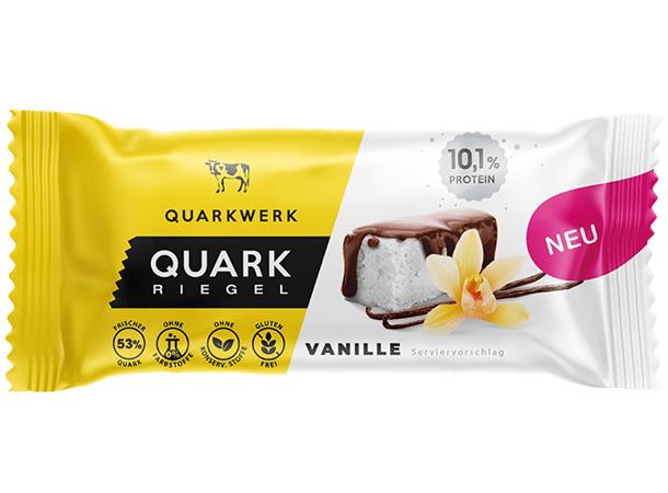 Cremiger Vanillequark (53%) umhüllt mit knackiger Kakaoglasur