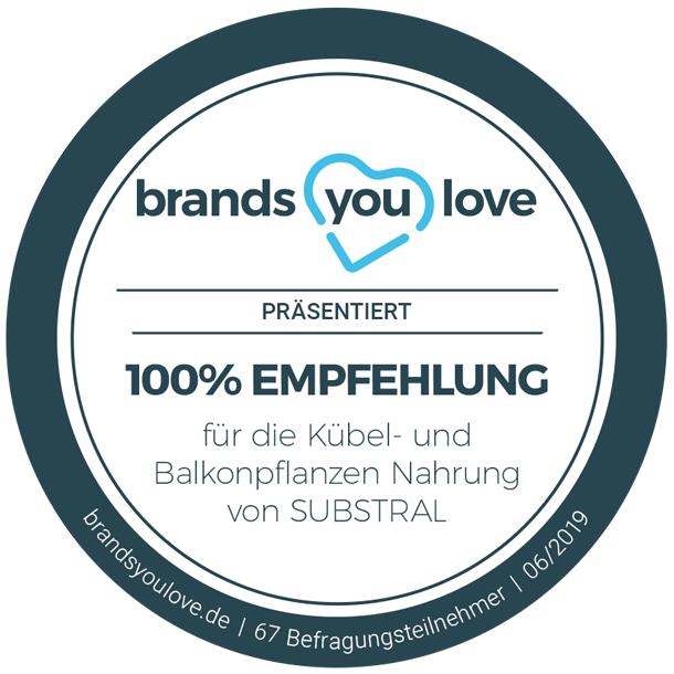 brands you love-Siegel für SUBSTRAL® Kübel- und Balkonpflanzen Nahrung
