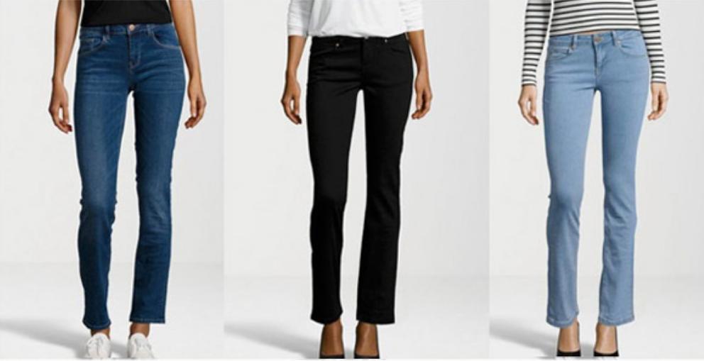 Slim Jeans, mid blue wash / Straight Jeans, black / Straight Jeans, plain light blue