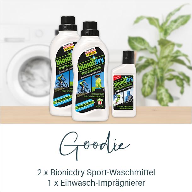 Goodie: 2x Bionicdry Sport-Waschmittel 1x Einwasch-Imprägnierer
