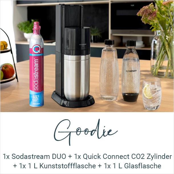 Goodie: 1x Sodastream DUO Maschine + 1x Quick Connect CO2 Zylinder + 1x 1 L spülmaschinengeeignet Kunststoffflasche + 1x 1 L Glasflasche