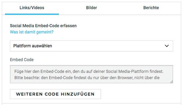 Embed-Code einreichen