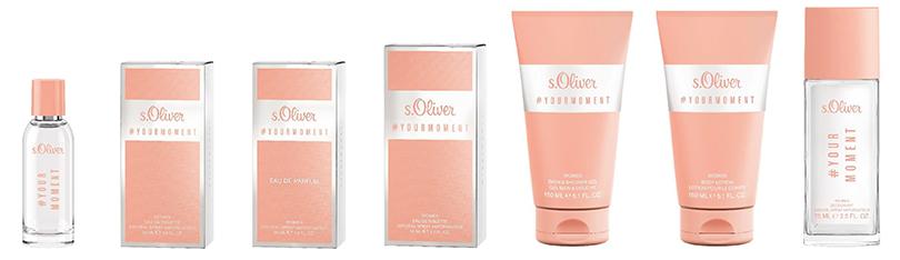 s.Oliver #YOURMOMENT Women Eau de Parfum (30 ml) 22,75 EUR, Eau de Toilette (50 ml) 26,75 EUR, Bath & Shower Gel (150 ml) 10,75 EUR, Body Lotion (150 ml) 10,75 EUR und Deodorant Natural Spray (75 ml)11,75 EUR