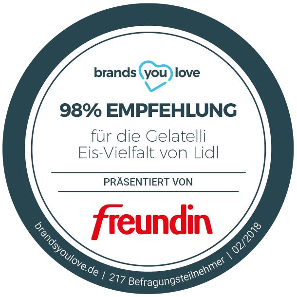 brands you love-Siegel für die Gelatelli Eissorten von Lidl