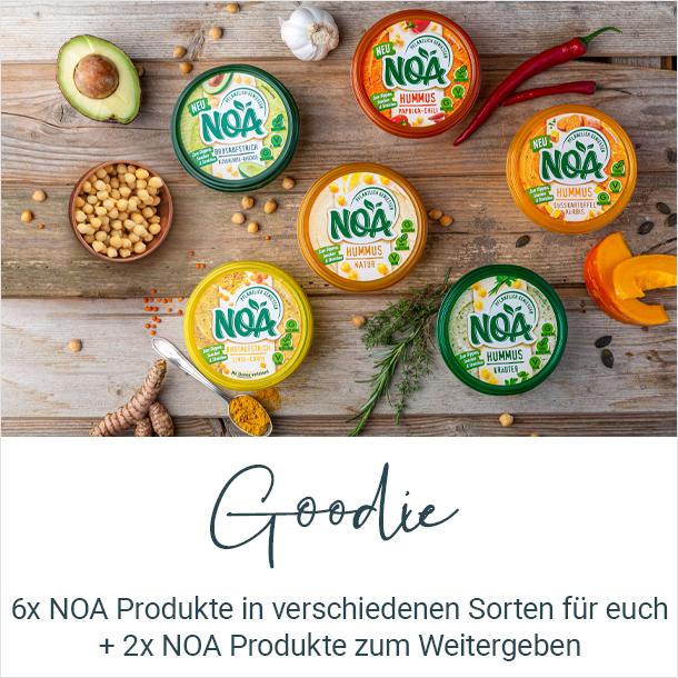 Goodie: 6x NOA Aufstrich in verschiedenen Sorten kostenlos für euch + 2x NOA Produkte zum Weitergeben