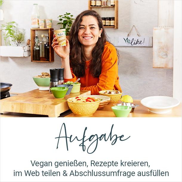 Aufgabe: Vegan genießen, Rezepte kreieren, im Web teilen und Abschlussumfrage ausfüllen