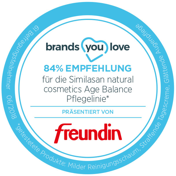 brands you love-Siegel für Similasan natural cosmetics Age Balance Pflegelinie