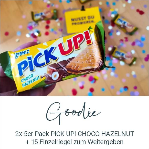 Goodie: 2x 5er Pack PiCK UP! CHOCO HAZELNUT + 15 Einzelriegel zum Weitergeben