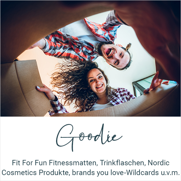 Fit For Fun Fitnessmatten, Trinkflaschen, Nordic Cosmetics Produkte, brands you love-Wildcards u.v.m.