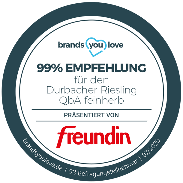 brands you love Empfehlungssiegel für den Durbacher Riesling QbA feinherb