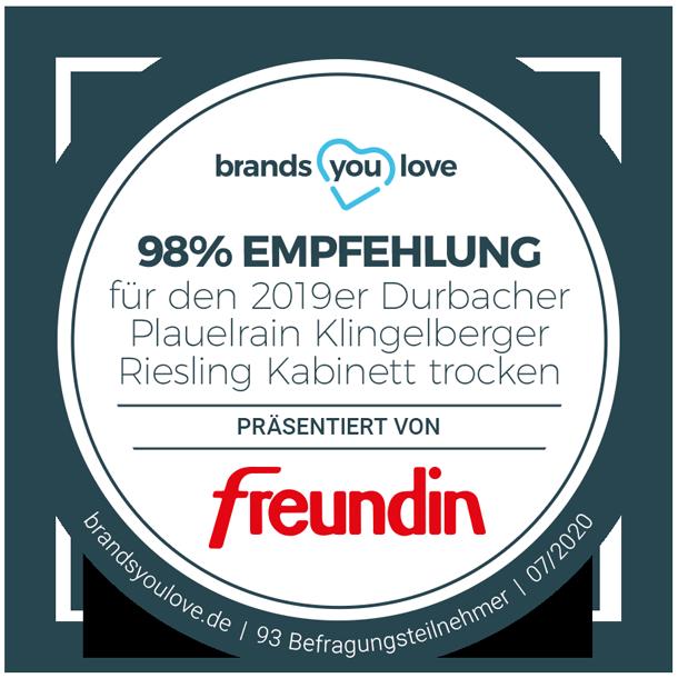 brands you love Empfehlungssiegel für den 2019er Durbacher Plauelrain Klingelberger Riesling Kabinett trocken