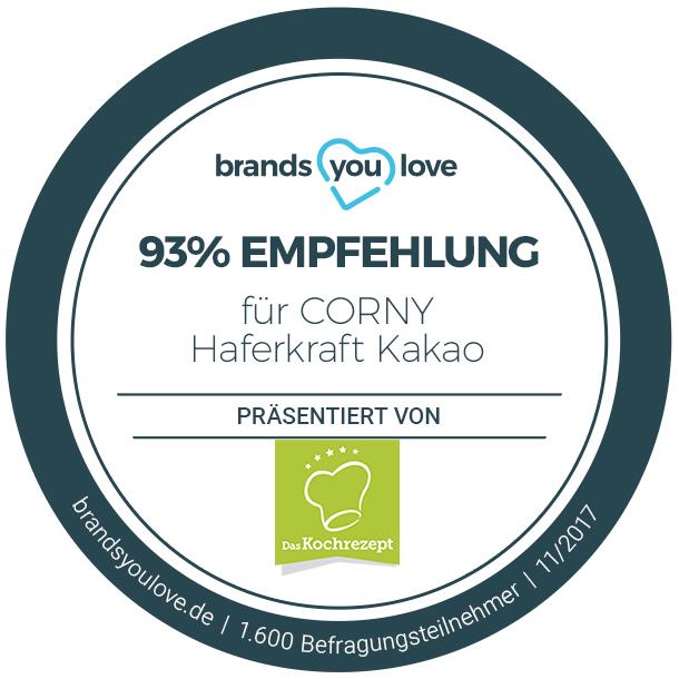 Das brands you love Weiterempfehlungssiegel für CORNY Haferkraft Kakao