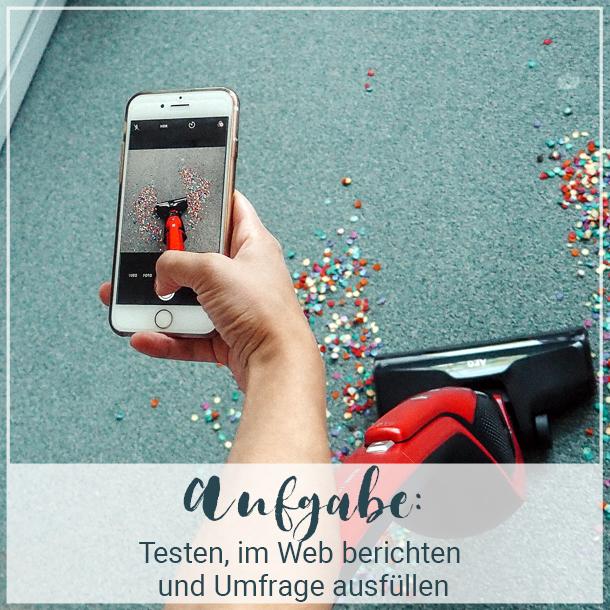 Aufgabe der AEG QX8 Tester: Testen, im Web berichten & Umfrage ausfüllen