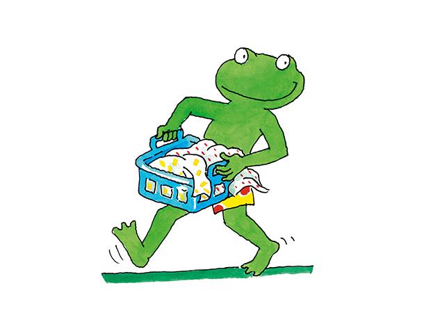 Frosch bringt Wäsche