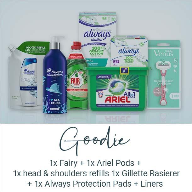 Goodie: Fairy, Ariel, Pods, head&shoulders, Gillette, Rasierer, Always Protection