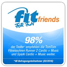 FIT FOR FUN friends Weiterempfehlungssiegel für die TomTom Fitnessuhren