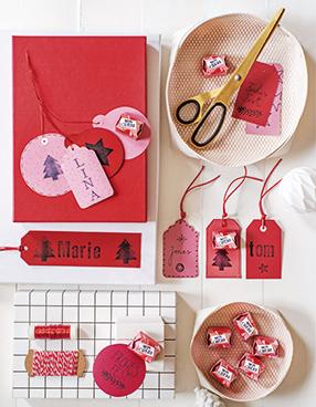 Geschenkverpackung: Süßes Xmas Etikett mit Mon Chéri