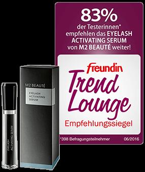 freundin Trend Lounge Siegel für EYELASH ACTIVATING SERUM von M2 BAUTÉ