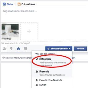 Facebook-Bilder öffentlich sichtbar machen