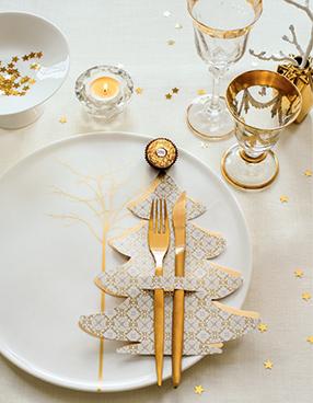 Tischdeko: Besteckbäumchen mit Ferrero Rocher