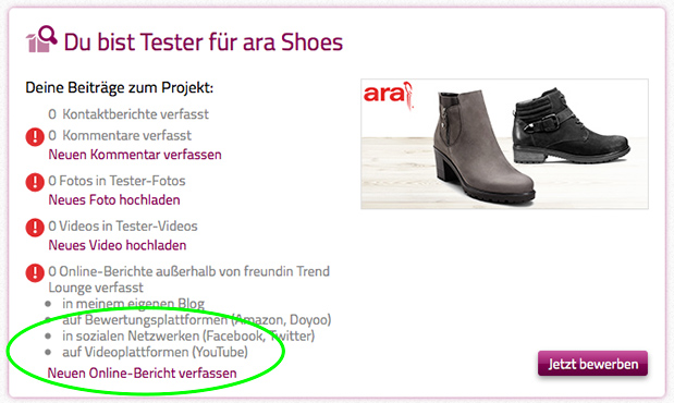 Meine Projekte – Übersicht ara Shoes