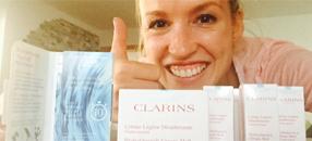 92 % der Testerinnen sind von den hochwertigen Pflegeprodukte von Clarins überzeugt