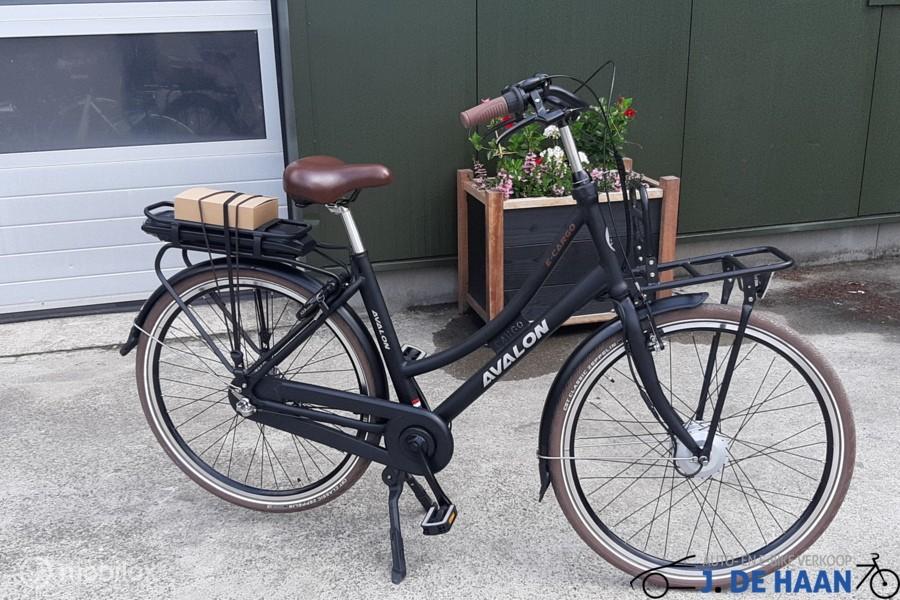 Avalon Cargo E bike  in matzwart en blauw