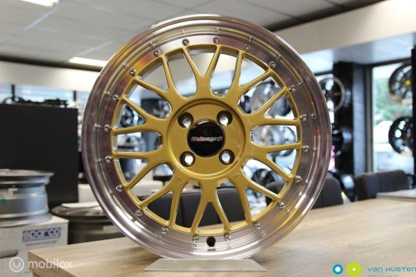 Retro velgenset KR 307 Gold - 7X16 - 4X100 - ET25