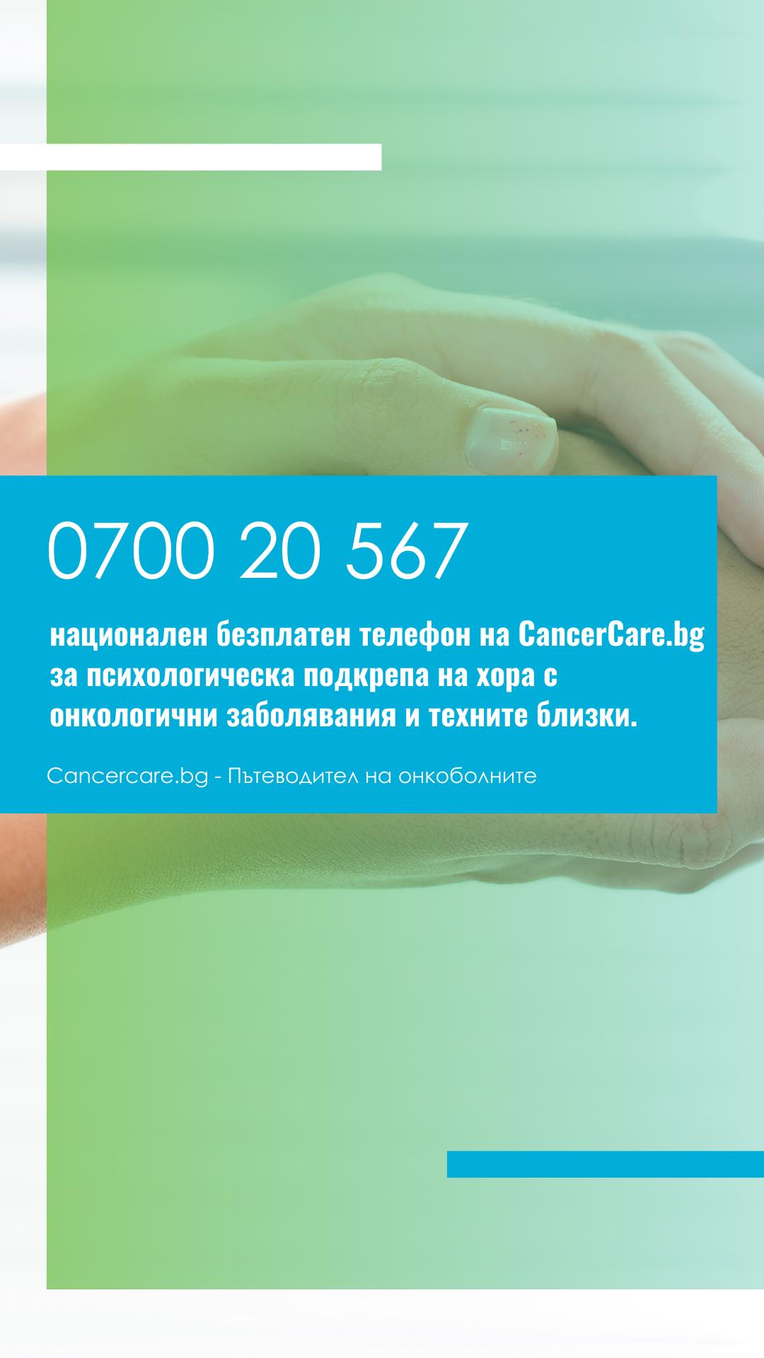 0700 20 567 – Национален безплатен телефон за психологическа подкрепа на пациенти с онкологични заболявания