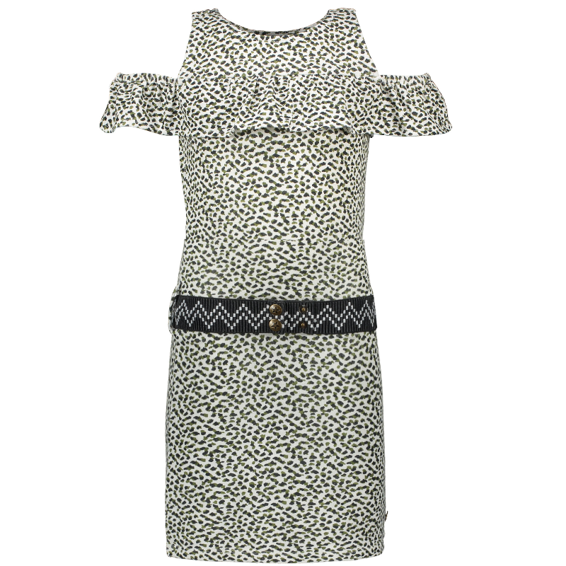 Wit geprinte animal ruffle jurk 5855
