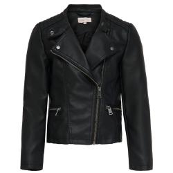 Zwarte faux leather biker Freya