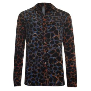 Blauwe print blouse 33225